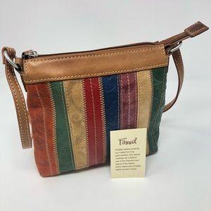 Fossil Rainbow Patchwork Stripe Crossbody Bag